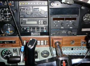 Cockpit with the LORAN mounted in the middle